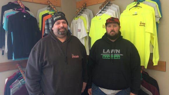Tom LaBoda, left, and Ryan Pozarski are owners of B&P's Bone Yard Screen Printing and Embroidery in Stevens Point.
