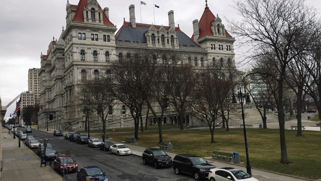 Cars line State Street outside of the New York State Capitol in Albany on March 18, 2016.