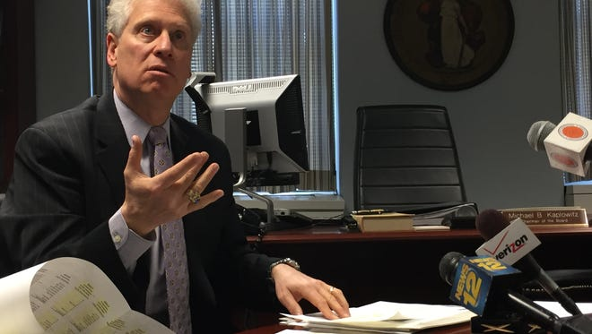 """Board of Legislators Chairman Michael Kaplowitz shown in his office. Kaplowitz said the bill of rights was well-intentioned but lacked real-world considerations."""""""