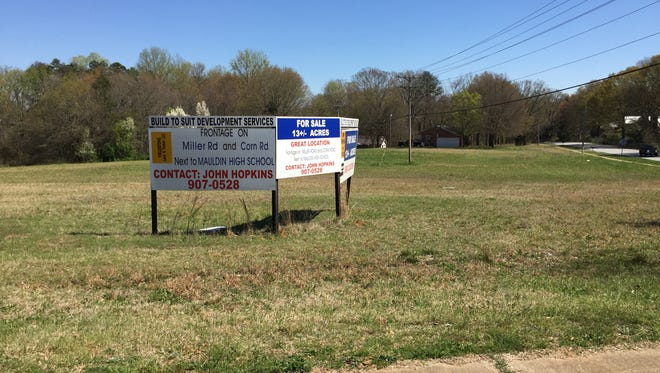 Mauldin City Council gave initial approval to a plan to annex this land at Corn and Miller roads, where developers are looking to build a townhouse community.