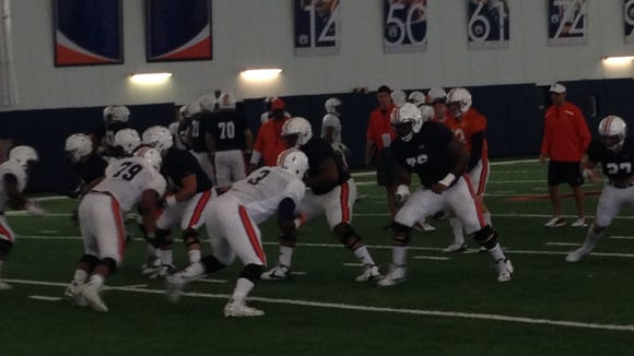 Auburn freshman Marlon Davidson (3) working with the