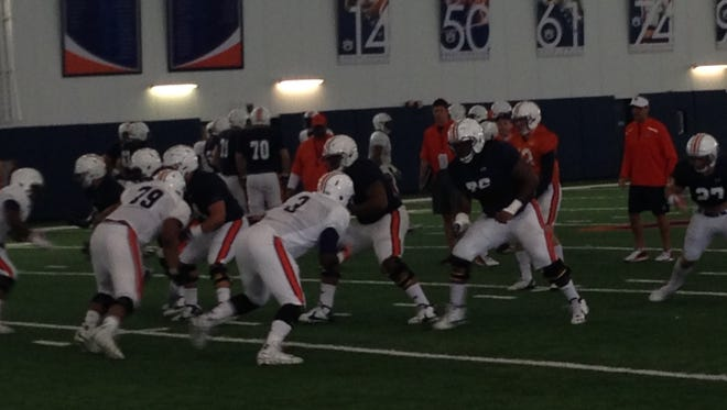 Auburn freshman Marlon Davidson (3) working with the third-string defense along Andrew Williams (79) during a spring practice on March 22, 2016.