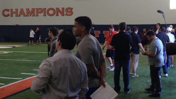Illinois transfer T.J. Neal observing Auburn's spring practice on March 22, 2016. Neal is expected to arrive at Auburn this summer as a graduate transfer from the Illini program.