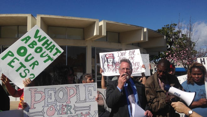Attorney Anthony Prince, who represents a number of homeless residents in Salinas, at a news conference and gathering in front of City Hall before the March 22 City Council meeting.