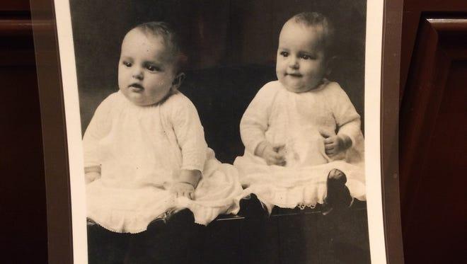 Identical twins Albert and Elmer Pfeuffer turned 100 on Mar. 15.