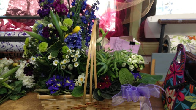 Easter flowers make an attractive basket for spring gifts.