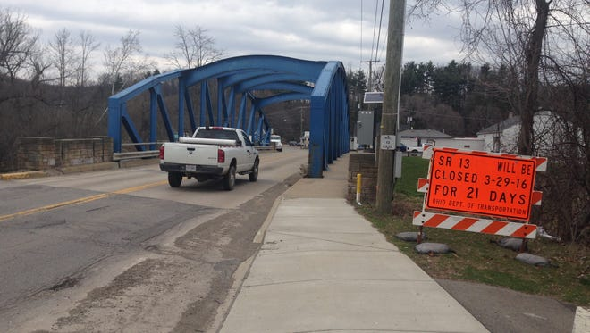 Ohio 13 bridge in Bellville is to be closed for repairs until April 26.