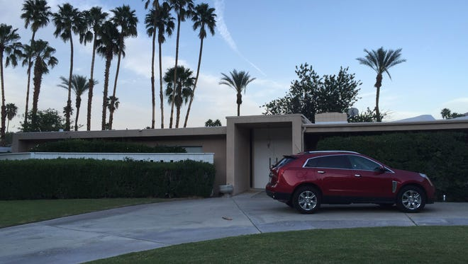 A house in Palm Springs where neighbors say a man died after an electric shock in a pool on March 27.