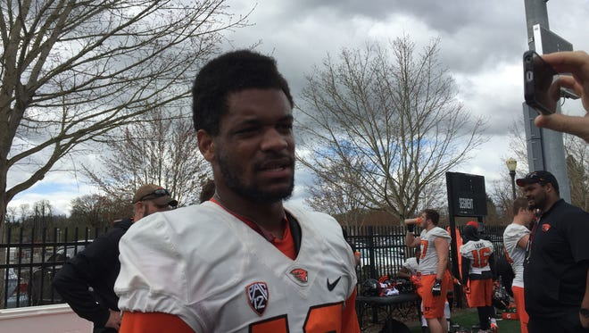 OSU wide receiver Jordan Villamin talks about the improved passing game after the first day of spring practice on March 28, 2016.