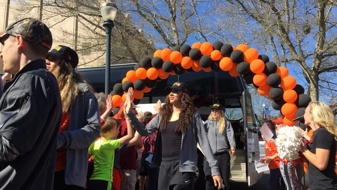 Oregon State's Gabby Hanson and teammates arrive for a Final Four celebration Tuesday at Parker Plaza on the OSU campus.