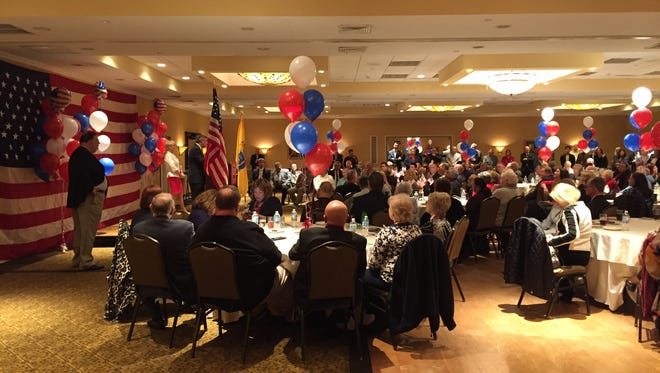Ocean County Republican Chairman George R. Gilmore addresses about 250 attendees at Wednesday night's county GOP nominating convention in a ballroom of the Toms River Hotel.