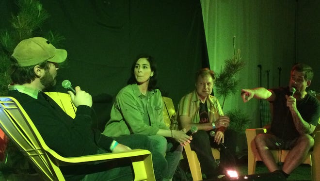 From left to right sitting in chairs Jon Dore, Sarah Silverman, Henry Phillips, Todd Glass entertain the crowd at Jashfesht in Palm Springs.