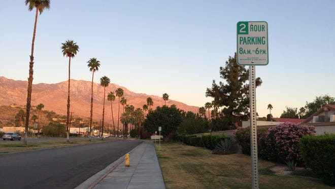 Parking limits were recently placed on Canyon Sands Drive in Palm Springs. They're supposed to prevent people from parking cars that are up for sale.