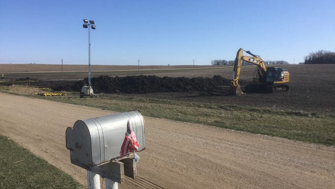 A TransCanada crew is doing preliminary work to investigate an oil spill from its pipeline near Freeman.