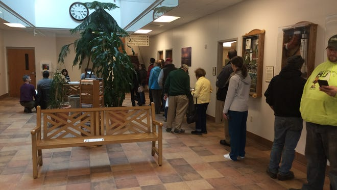 A long line of people registering to vote had formed around 5 p.m. Tuesday at Sturgeon Bay City Hall.