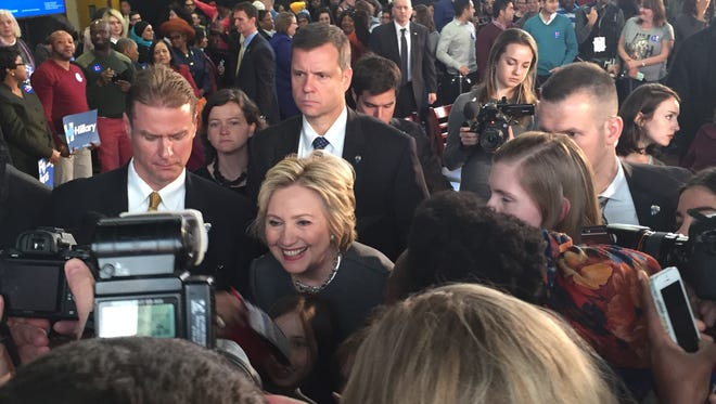 """Hillary Clinton greets supporters at a campaign stop in Brooklyn Tuesday. """"Peddling prejudice and paranoia is not the New York way,"""" Clinton said of GOp frontrunner and New York resident Donald J. Trump."""