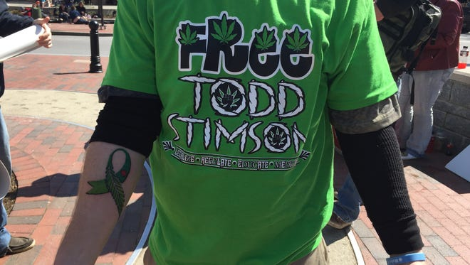A protester's T-shirt bears his message at a 2015 demonstration on behalf of Todd Stimson, whose conviction on marijuana trafficking charges was recently upheld.