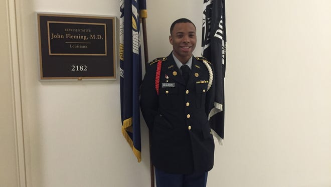 Fair Park High School ROTC student  Jakendrick Beaudion outside the Washington, D. C. office of U.S. Rep. John Fleming.