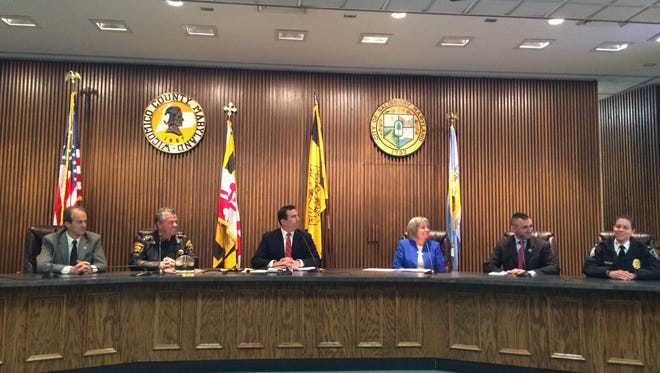 Wicomico County leaders meet in the county building meet to discuss heroin and opioid abuse.