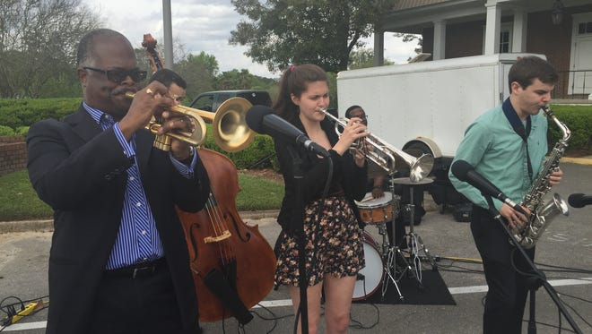 The Scotty Barnhart Sextet performing in the Tallahassee Democrat parking lot as part of Tallahassee Music Week.