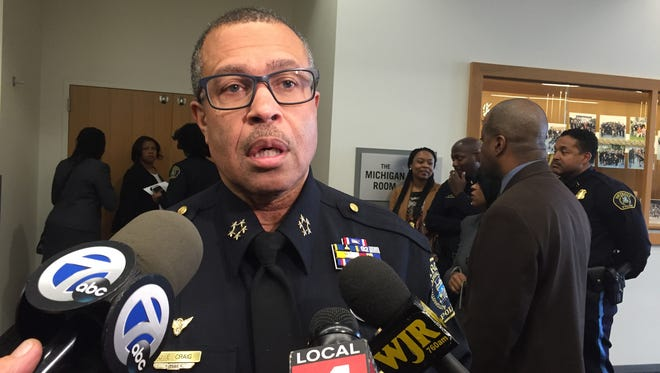 Detroit Police Chief James Craig announced new promotions to commander and captain on Thursday, Apr. 7 at Detroit Public Safety Headquarters in Detroit.