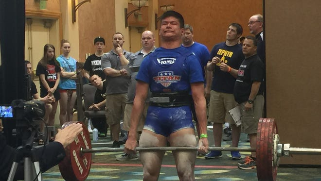 Ionia's Shane Nutt attempts a  deadlift at the USA Powerlifting High School nationals last weekend in Orlando, Fla.