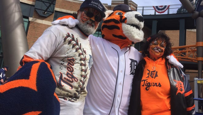 Tony and Pam Rinna of Southgate at the Tigers home opener on Friday.