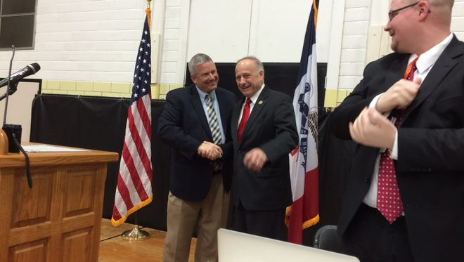 Secretary of Agriculture Bill Northey, right, endorses Congressman Steve King April 9 in Fort Dodge.
