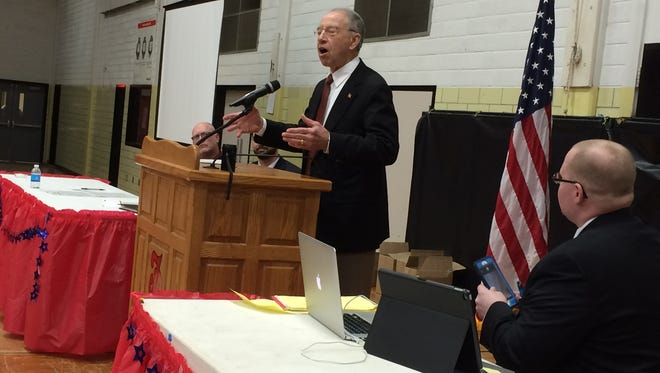 Sen. Chuck Grassley speaks to the Iowa Republican 4th District convention in Fort Dodge on April 9, 2016.