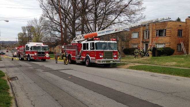 Firefighters from several departments responded to an apartment fire Sunday morning in the 2300 block of Losantiville Avenue.