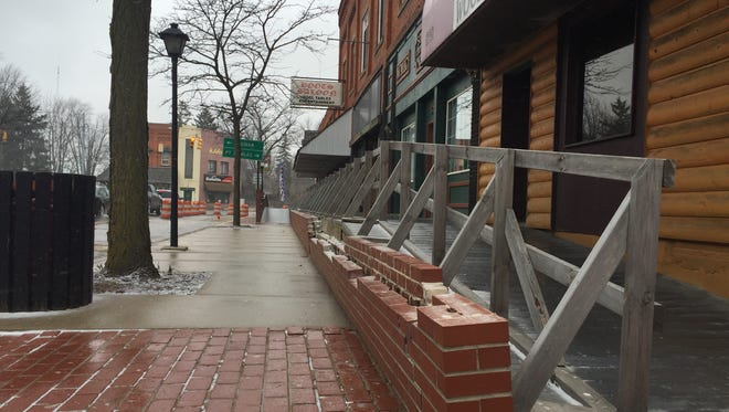 Construction to remove and replace the boardwalk on South Elk Street in downtown Sandusky began Thursday. The roughly $360,000 project is expected to last six weeks.