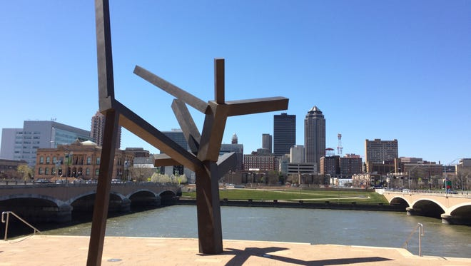 """Untitled"" by Joel Shapiro, located outside Des Moines City Hall, is one of 87 public art pieces that will be connected via an art path in the downtown area."