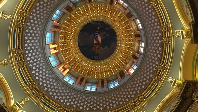 The interior dome of the Iowa Capitol.