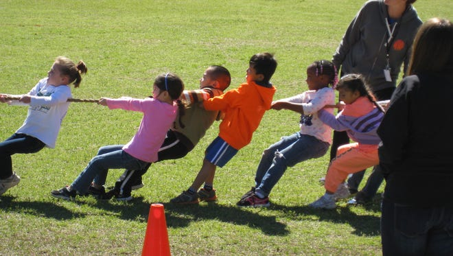 Kids participate in physical activities at the annual STOMP Out Type 2 Diabetes event.