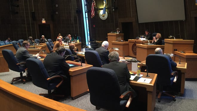 New Castle County Council discusses funding for the county's Ethics Commission on Tuesday.