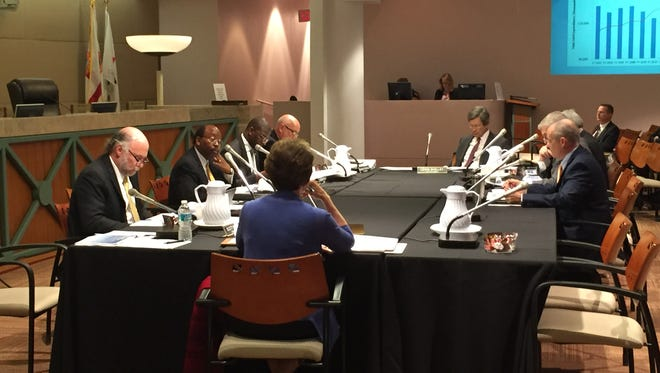 The Tallahassee City Commission at an April budget workshop. The commission will hold its next budget workshop today at 1 p.m.