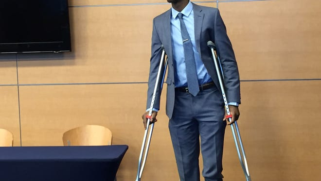 Caris LeVert sports crutches after his latest surgery.