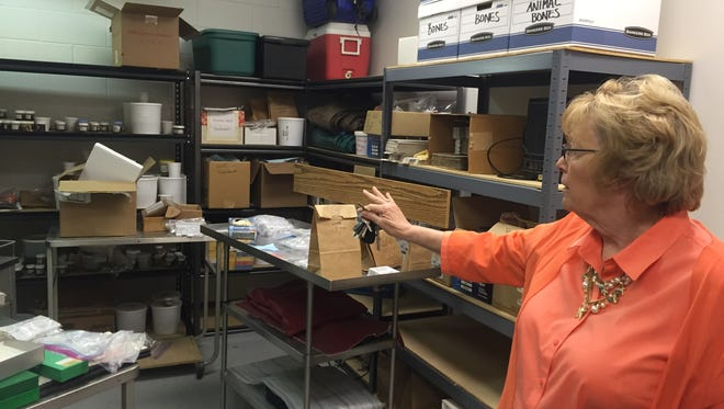 Tippecanoe County Coroner Donna Avolt talks about the forensic evidence room during a tour of the office. Avolt is being challenged for her position in the May 3 primary election by Dr. Mark Buono, who specializes in anesthesiology at IU Health Arnett Hospital.