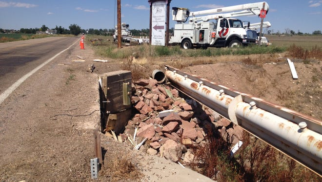 A Larimer County Road 5 guardrail was damaged by a single-vehicle car crash in this file photo. Windsor officials will preform guardrail repairs on Weld County Road 17 this week.