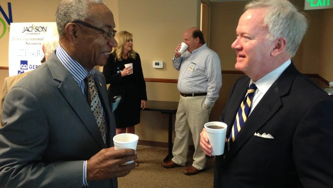 State Rep. Johnny Shaw, D-Bolivar, talks with Jackson's Stan Harris before CapitolTALK Friday