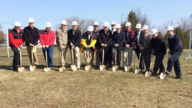 The new Jim Olson Ford location was part of a groundbreaking on Thursday morning.  Sturgeon Bay's Ryan Kernosky, Marty Olejniczak, Mayor Thad Birmingham, Bill Chaudoir, Rep. Joel Kitchens, Josh VanLieshout, David Phillips, Jim Olson, Jim Thyes of Bayland, Olson CFO Brian Woods, Rick Wiesner, Baylake Bank's Rick Glasheen and Jeff Miller and Olson employees Bob Carstens and Jeff Brouchoud.