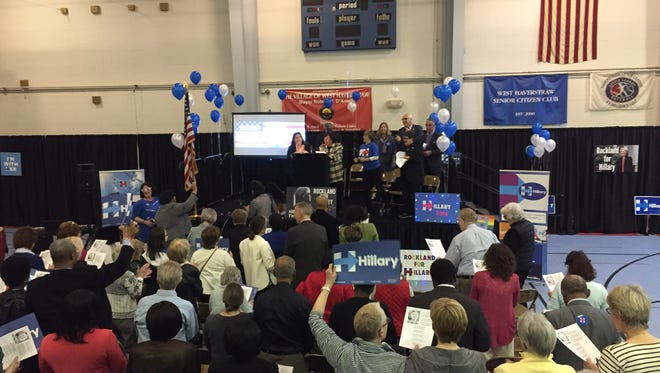 Supporters rally for Hillary Clinton at the West Haverstraw Community Center on Saturday