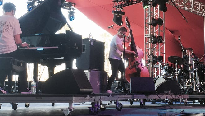 Gogo Penguin, one of two major jazz bands at Coachella, performs in the Gobi tent on Saturday.