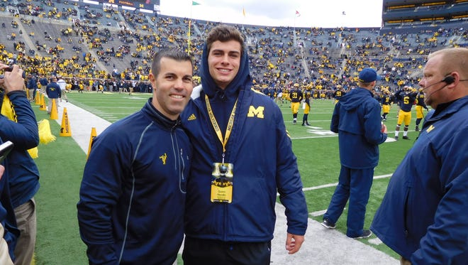"""Former Michigan kicker Brandon Kornblue, left, said Quinn Nordin has become one of the best """"combo"""" kickers in the country."""
