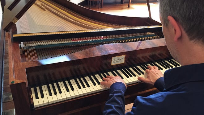 Pianist Carsten Schmidt playing on a fortepiano from the 1830s, on loan to Staunton Music Festival from a private collector.
