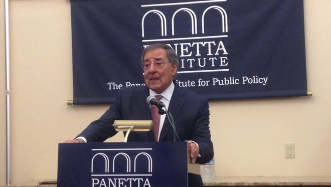"Leon Panetta moderated the panel on ""Jobs, Debt and Taxes"" panel as part of the Panetta Lecture series on Tuesday night."