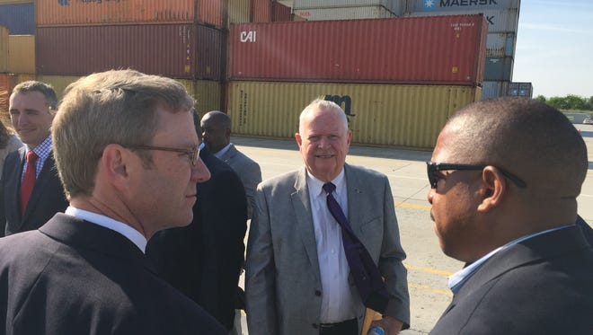 TF Finklea, center, chairman of the Dillon County Council, tours the SC Inland Port in Greer Wednesday morning. To his left is Byron Miller, a vice president with the State Ports Authority, and to his right, Marlon Jones, manager of international distribution, International Paper.