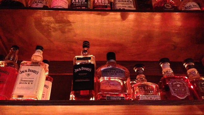 A whiskey collection at Fatty Arbuckles in downtown Shreveport.
