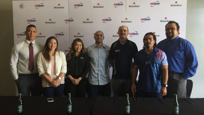 In this file photo, the Guam Rugby Football Union announced it be sponsored by Heineken. From left: Robert Leon Guerrero, Olivia Flores, Jessica Leon Guerrero , EJ Calvo, Stephen Grantham, Paul Claros and Joshua Walsh.