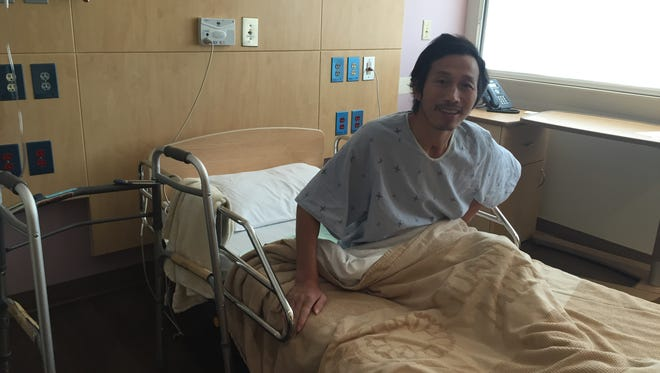 Yongwang Yu smiles in his hospital bed at the Guam Regional Medical City on April 22. Yu has been under GRMC's care since an accident in December.